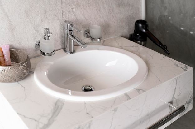 Minimalistic marble sink in the bathroom