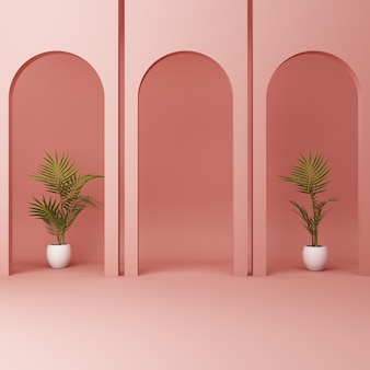Minimalistic pink arch with plants