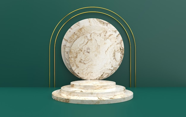 Minimalistic portal with marble podium, 3d rendering, scene with geometrical forms, minimal abstract green background, round white marble pedestal, step round scene, round gold frame