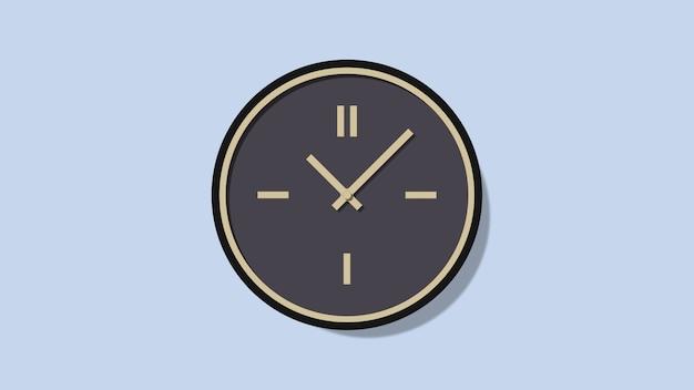 Minimalistic roman wall clock on a blue background