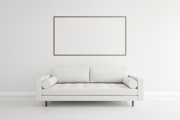 Minimalistic room with elegant sofa and frame