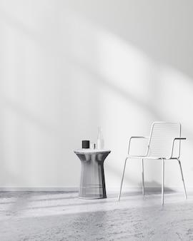 콘크리트 바닥에 흰색 금속 의자와 테이블이 있는 미니멀한 스칸디나비아 스타일의 객실 내부, 3d 렌더링