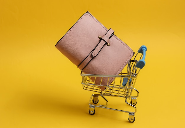 Minimalistic shopping concept mini shopping trolley with wallet