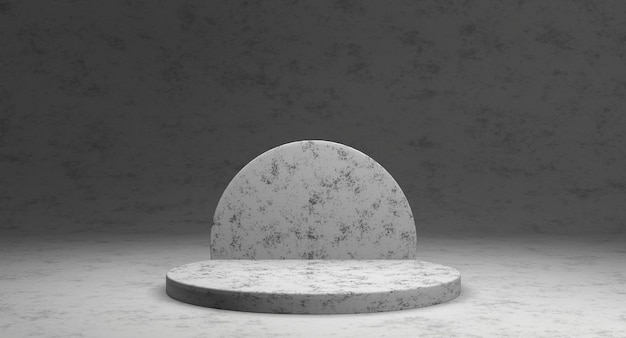 Minimalistic showcase with empty space. empty marble podium for display product. 3d rendering.