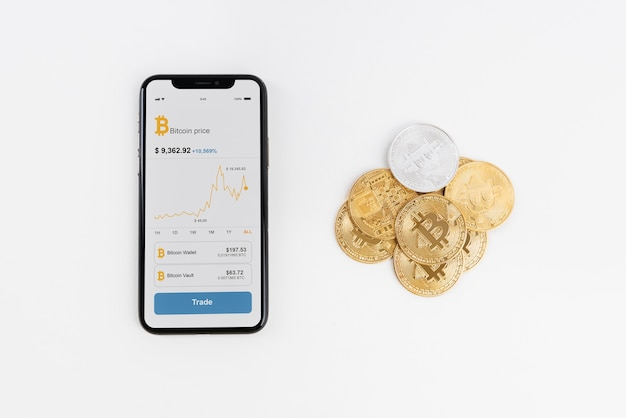Minimalistic still life assortment with cryptocurrency