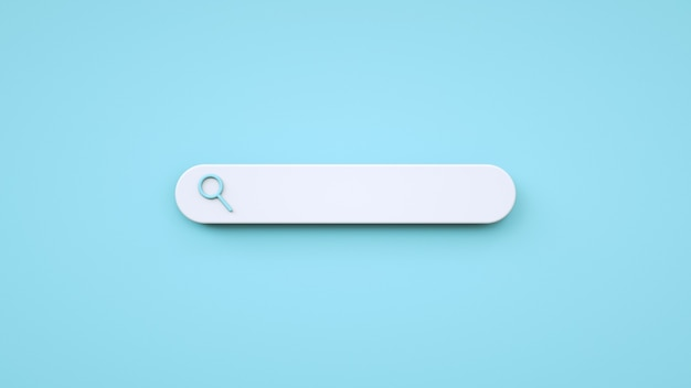 Пустое поле поиска в минималистичном стиле на синем фоне веб-поиск в мультяшном стиле 3d-рендеринг