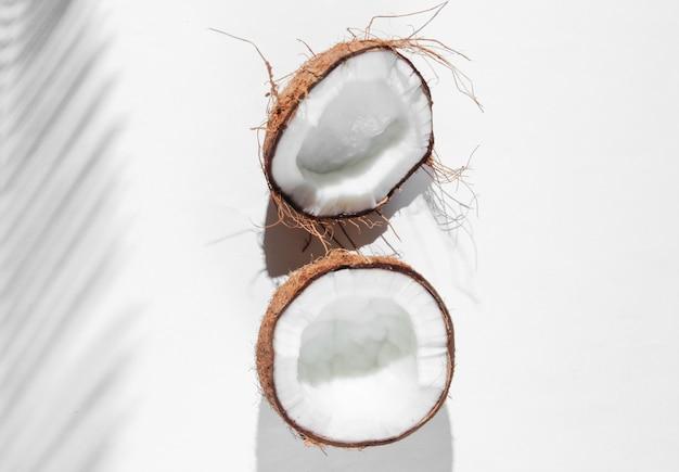ミニマルなトロピカルな静物。白い背景の上のヤシの葉からの影でココナッツを半分にします。クリエイティブなファッションコンセプト。