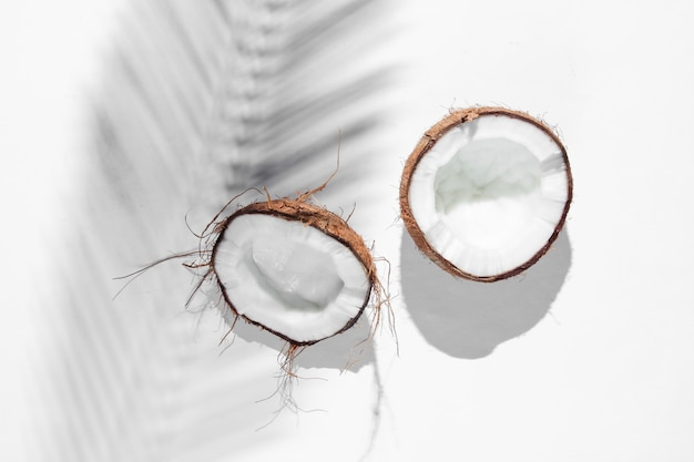 Minimalistic tropical still life. halves coconut with shadows from palm leaves on white background. creative fashion concept.