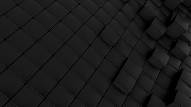 Minimalistic waves pattern made of cubes. abstract black cubic waving surface futuristic background.