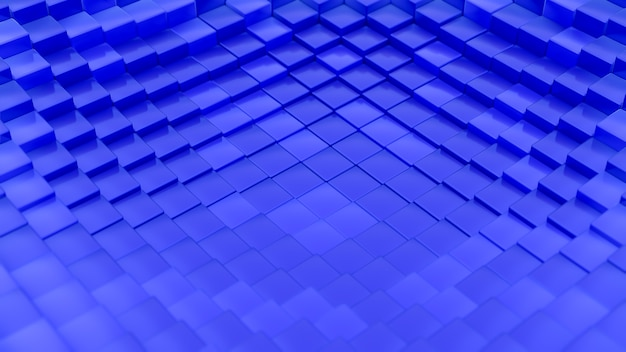 Minimalistic waves pattern made of cubes. abstract blue cubic waving surface futuristic background.