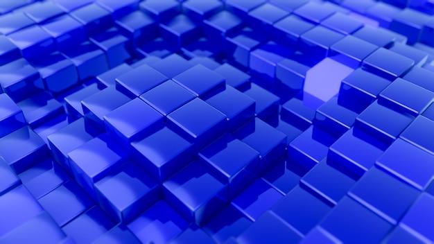 Минималистичный узор волны из кубиков. абстрактный синий кубический размахивая поверхность футуристический фон.
