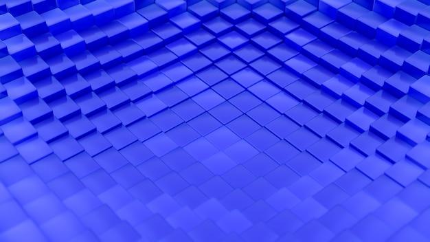 立方体で作られたミニマルな波のパターン。抽象的な青い立方波の表面の未来的な背景。