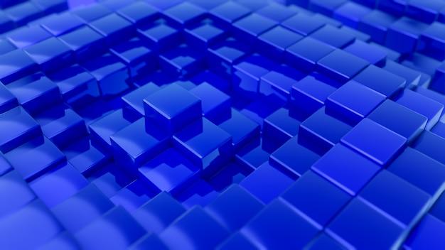 立方体で作られたミニマルな波のパターン。