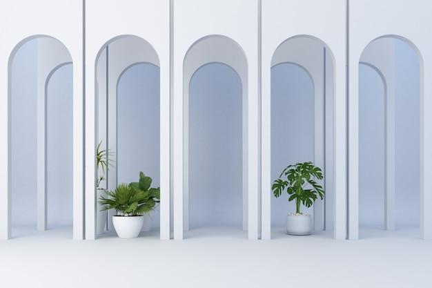 多くの植物と最小限の白いアーチを飾る3 dレンダリング