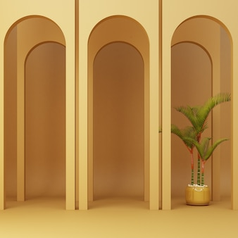 Minimalistic yellow arch with plants
