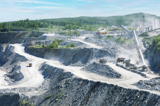 Mining in the quarry.  concept of opencast mining quarry.