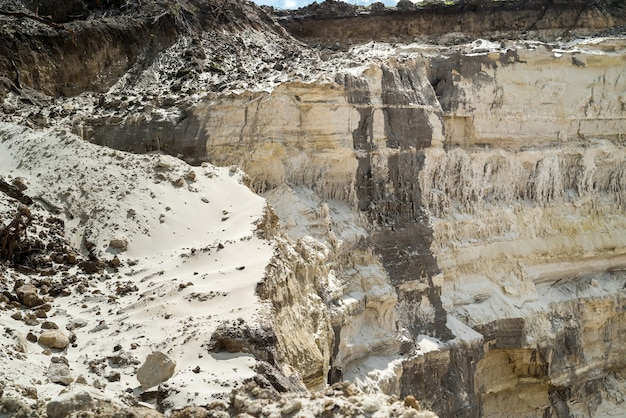 Mining in sand quarry in summer time. stone