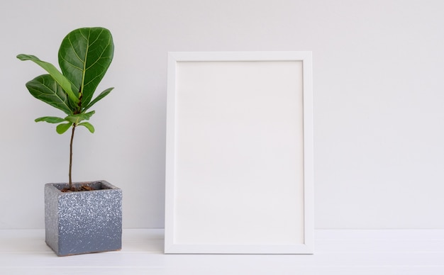 Mininmal stylish mock up poster frame and houseplant in modern cement pot on white wood table and wall surface,fiddle leaf fig or ficus lyrata exotic tree for interior