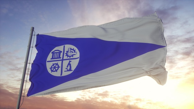 Minneapolis city flag, united states, waving in the wind, sky and sun background. 3d rendering