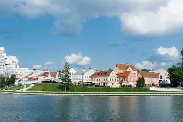 Minsk, belarus. view of the trinity suburb and the svisloch river