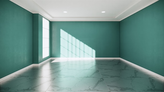 Интерьер комнаты mint - пустая комната из натурального камня, гранитный пол.3d рендеринг
