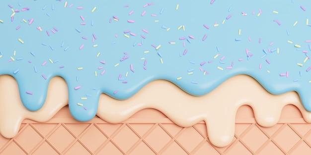 Мятно-ванильное мороженое, растопленное с посыпкой на вафле Premium Фотографии