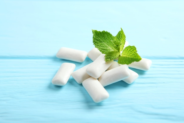 Mint chewing gum and mint on the table fresh breath oral care