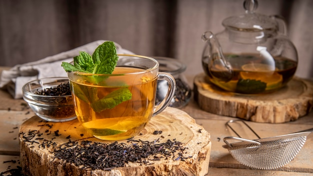 Mint in cup with tea