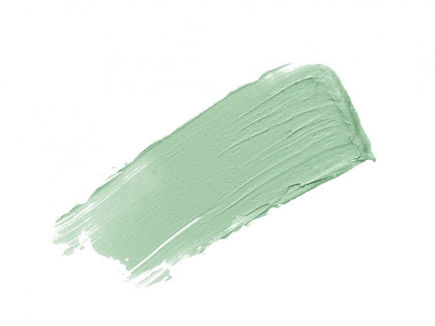 Mint green color correcting concealer stroke isolated