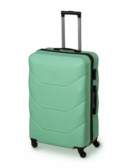 Мятно-зеленый чемодан для путешествий и надежного хранения багажа.