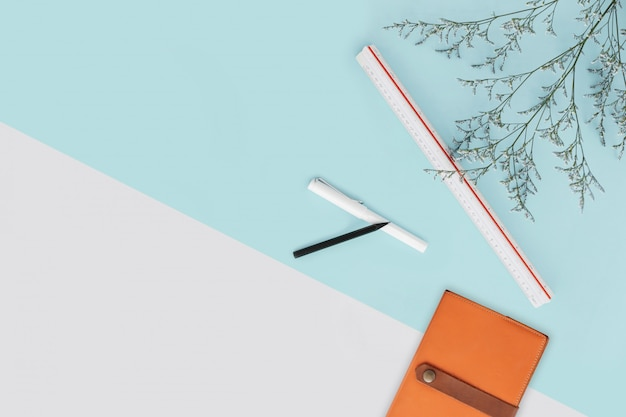 Mint green and white color background with flower branches and scale ruler, pencil, pen and notebook the right side. architect and designer background