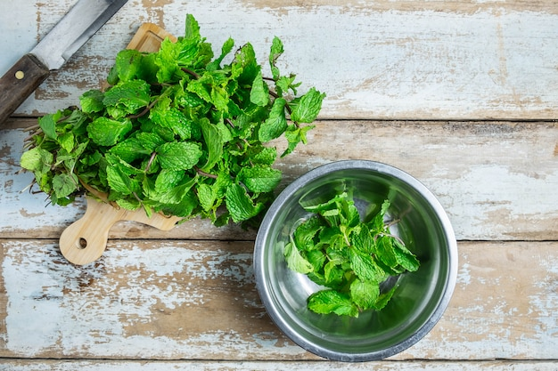 Mint herbs on a wooden table