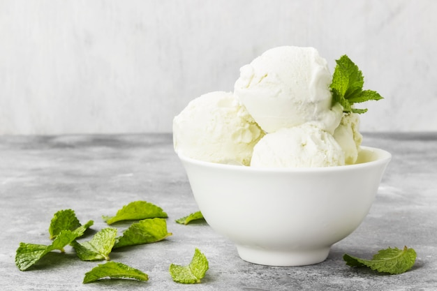 Mint ice cream in bowl on a gray background