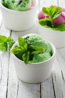 Mint ice-cream with chocolate