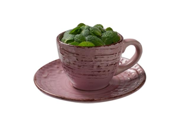 ミントは白い表面で隔離されたカップに残します。