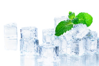 Mint leaves on ice cube isolated