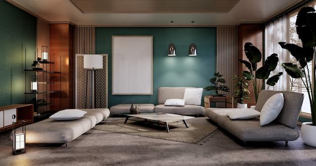Мятный дизайн интерьера гостиной. 3d рендеринг