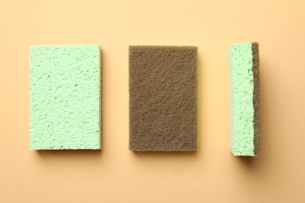 Mint sponges on beige isolated background, top view