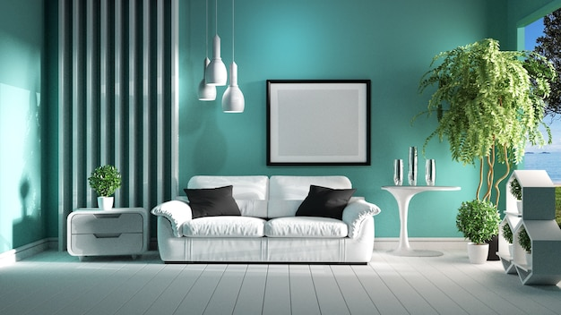Mint wall on white floor - room empty. 3d rendering