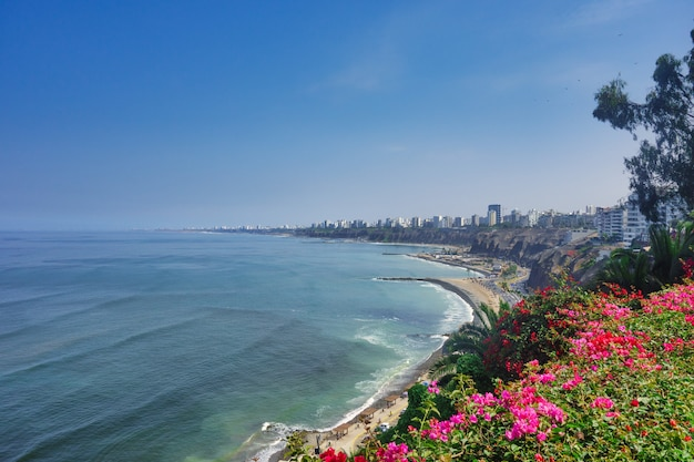 Miraflores district in lima in peru on the pacific ocean