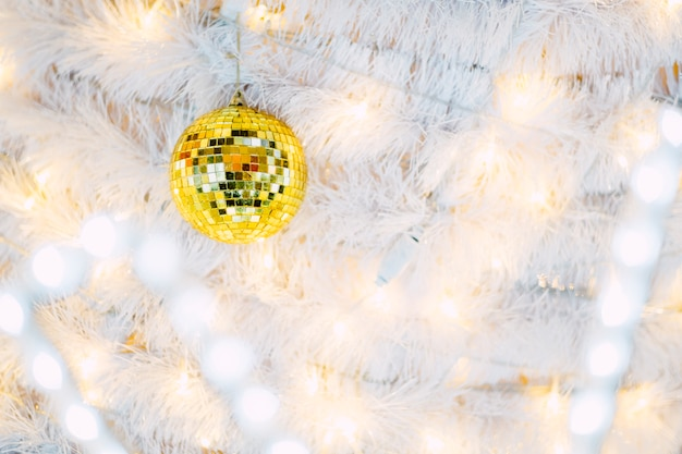 Mirror ball on christmas tree