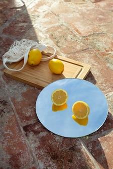 新鮮なレモンでミラーリング