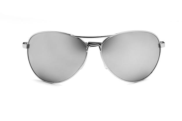 白で隔離のミラーアビエイターサングラス