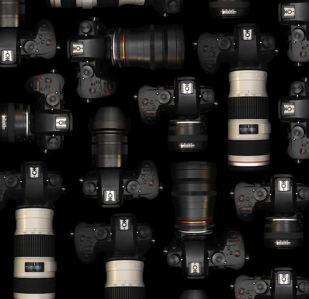 ビデオ撮影用のさまざまなレンズを備えたミラーレスカメラ
