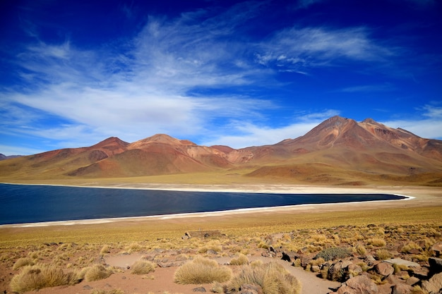 Miscanti lake, the highland lake at elevation of 4,120 meters above sea level, northern chile