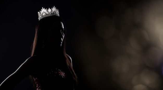 Miss pageant contest silhouette with diamond crown