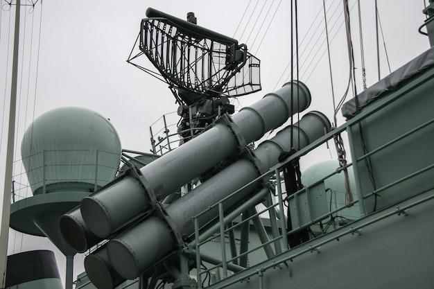 Missile launcher and radar system on warship