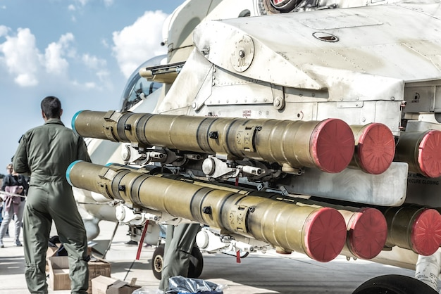 Missiles on a military helicopter