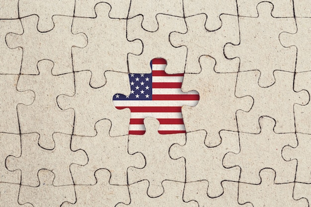 Missing jigsaw puzzle piece and usa flag