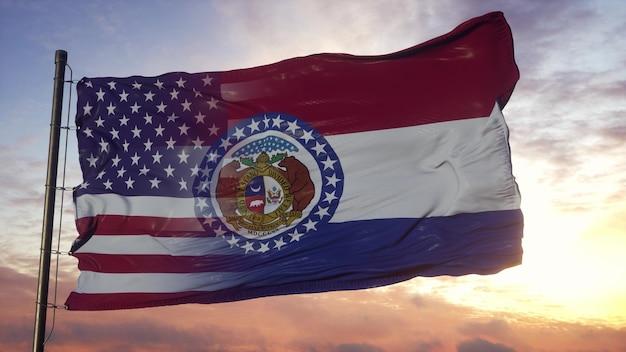 깃대에 미주리와 미국 국기입니다. 미국 및 미주리 혼합 플랙 손 흔드는 바람